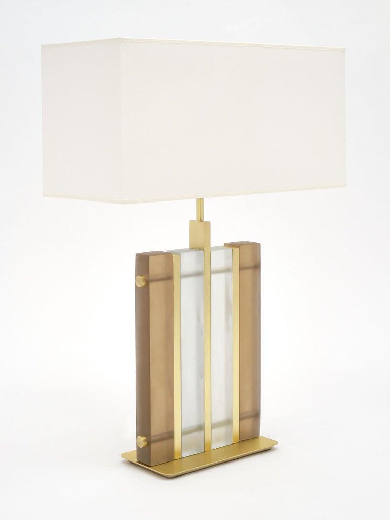 "Modern Murano Glass Amber ""Tormalina"" Slab Lamps For Sale"