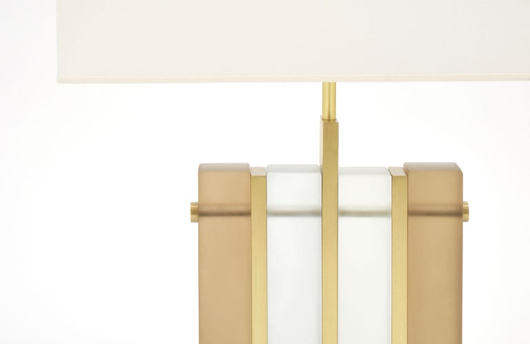 "Italian Murano Glass Amber ""Tormalina"" Slab Lamps For Sale"