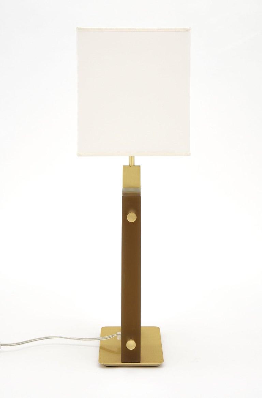 "Murano Glass Amber ""Tormalina"" Slab Lamps For Sale 1"