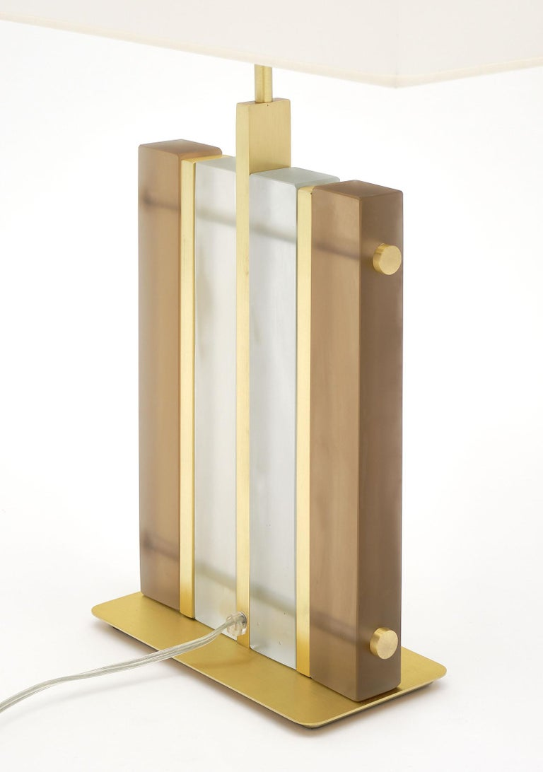 "Murano Glass Amber ""Tormalina"" Slab Lamps For Sale 2"