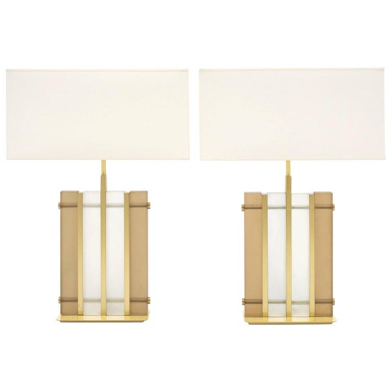 "Murano Glass Amber ""Tormalina"" Slab Lamps For Sale"
