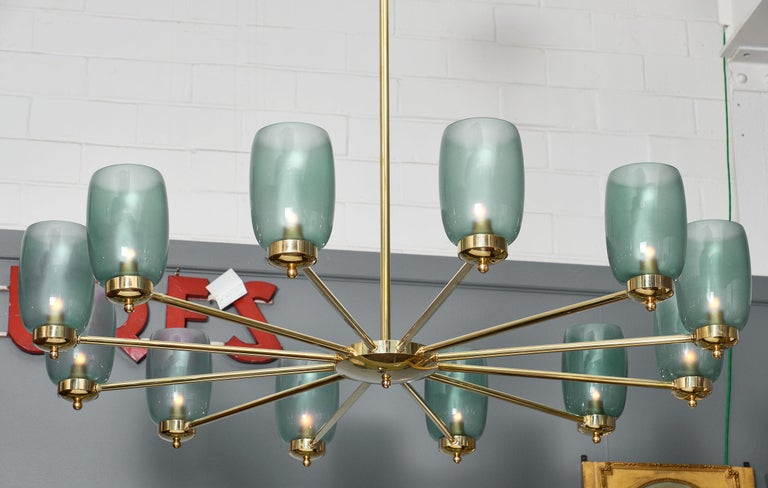 Modern Murano Glass and Brass 12-Arm Chandelier For Sale