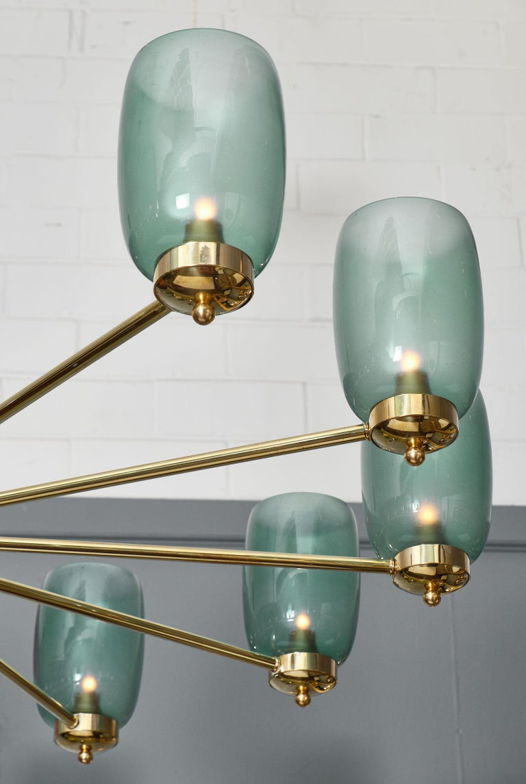 Italian Murano Glass and Brass 12-Arm Chandelier For Sale
