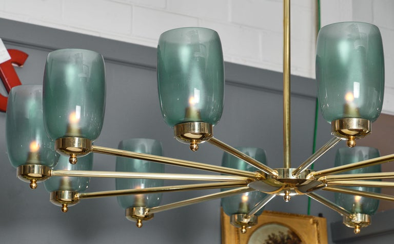 Contemporary Murano Glass and Brass 12-Arm Chandelier For Sale