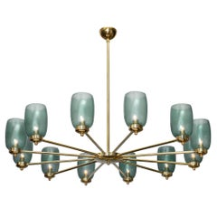 Murano Glass and Brass 12-Arm Chandelier