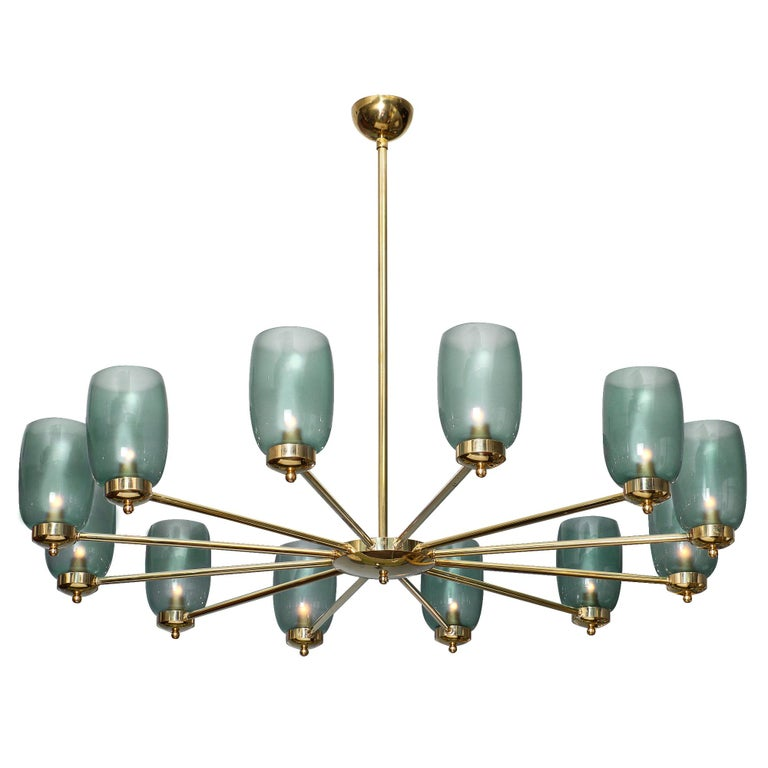 Murano Glass and Brass 12-Arm Chandelier For Sale