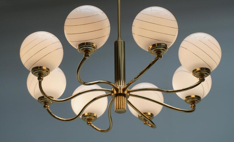Murano Glass and Brass Chandelier, 1970s, Italy For Sale 4