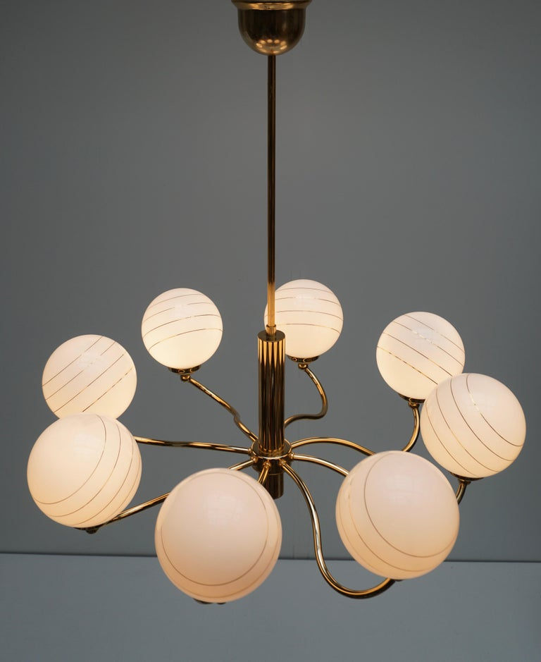 Hollywood Regency Murano Glass and Brass Chandelier, 1970s, Italy For Sale