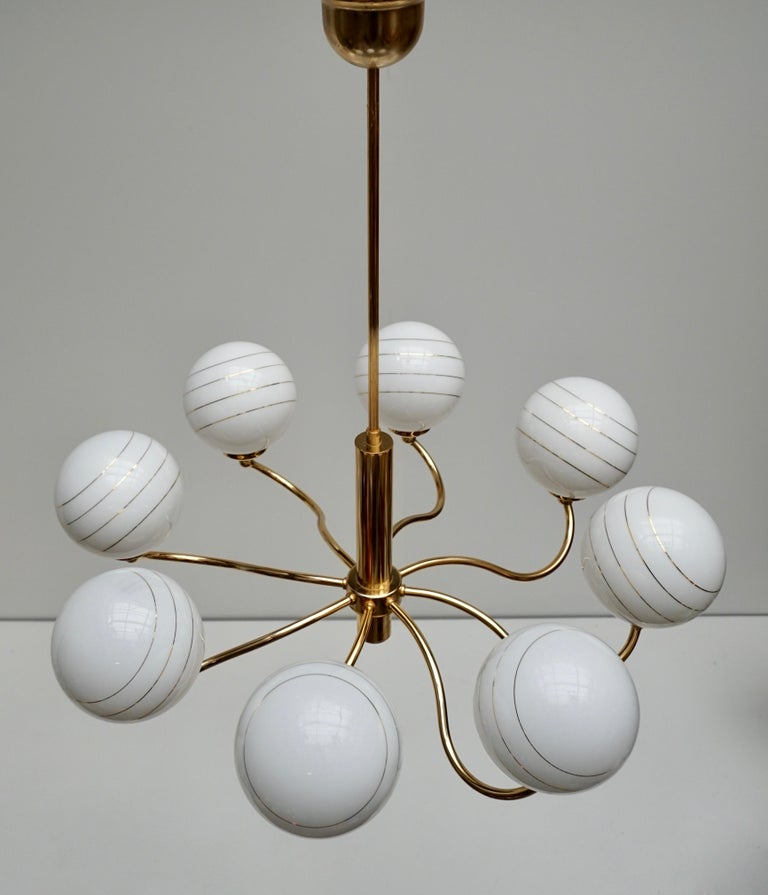 Italian Murano Glass and Brass Chandelier, 1970s, Italy For Sale