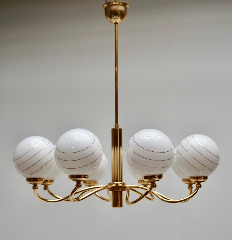 Murano Glass and Brass Chandelier, 1970s, Italy In Good Condition For Sale In Antwerp, BE