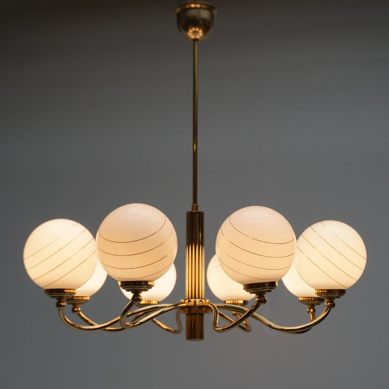 20th Century Murano Glass and Brass Chandelier, 1970s, Italy For Sale