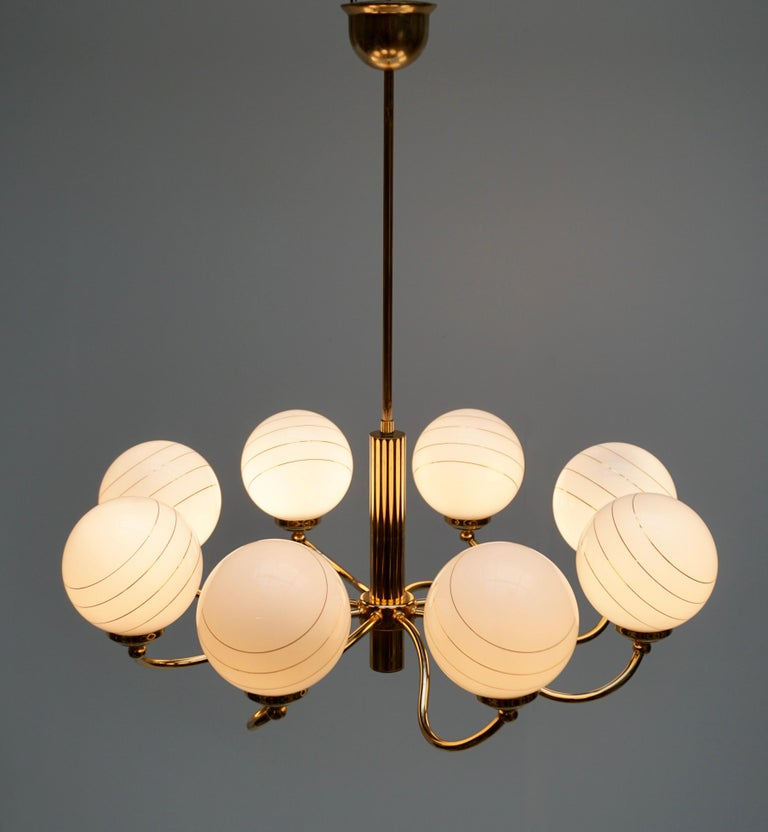 Murano Glass and Brass Chandelier, 1970s, Italy For Sale 1