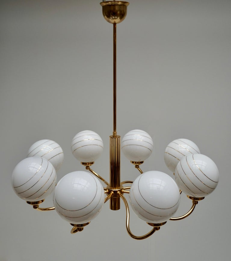 Murano Glass and Brass Chandelier, 1970s, Italy For Sale 2