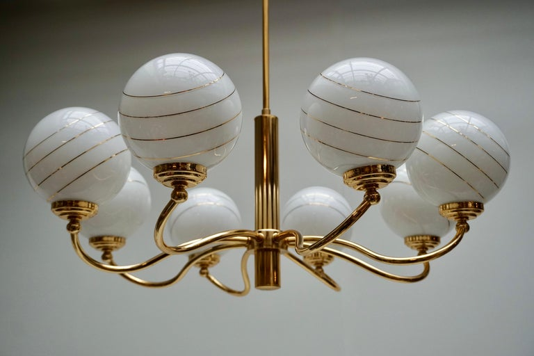 Murano Glass and Brass Chandelier, 1970s, Italy For Sale 3