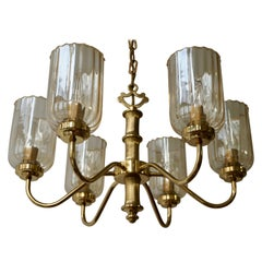 Murano Glass and Brass Chandelier 1970s Italy