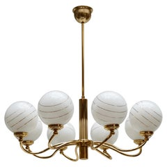 Murano Glass and Brass Chandelier, 1970s, Italy
