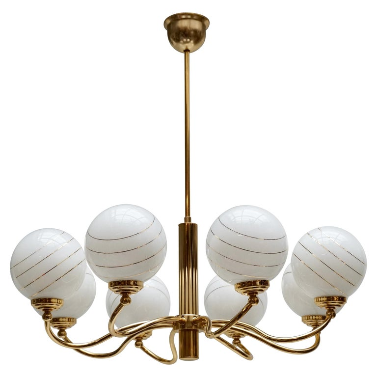 Murano Glass and Brass Chandelier, 1970s, Italy For Sale