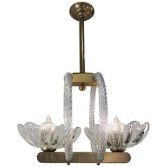 Murano Glass and Brass Chandelier by Ercole Barovier