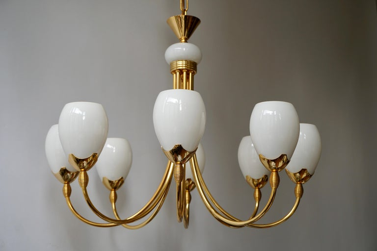 Murano Glass and Brass Chandelier For Sale 4