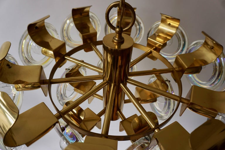 Murano Glass and Brass Chandelier For Sale 5