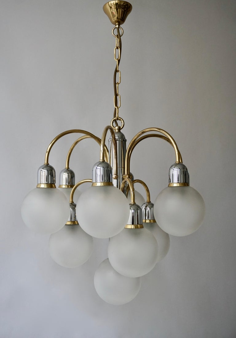 Murano Glass and Brass Chandelier For Sale 7