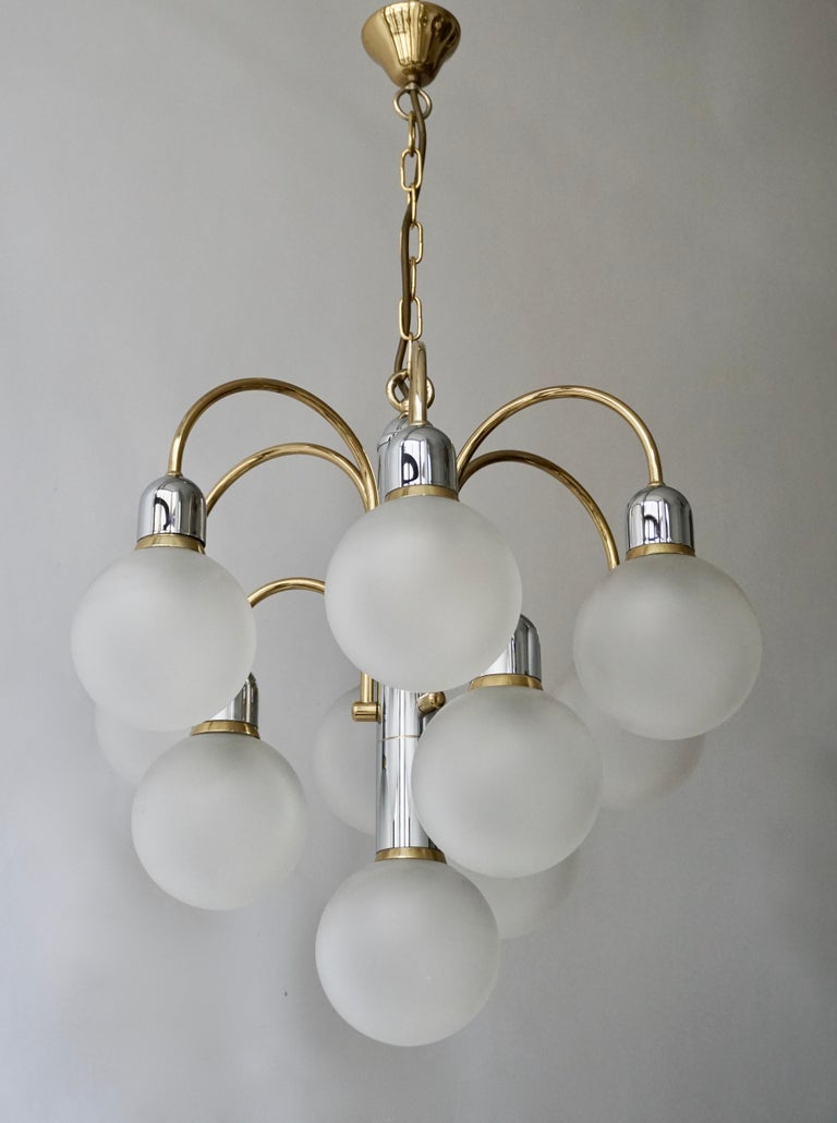 Murano Glass and Brass Chandelier For Sale 8