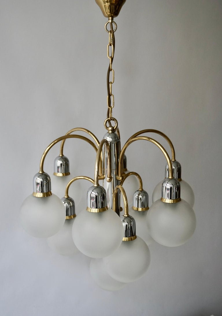 Murano Glass and Brass Chandelier For Sale 9