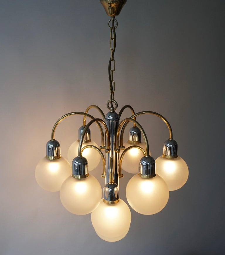 Murano Glass and Brass Chandelier For Sale 10