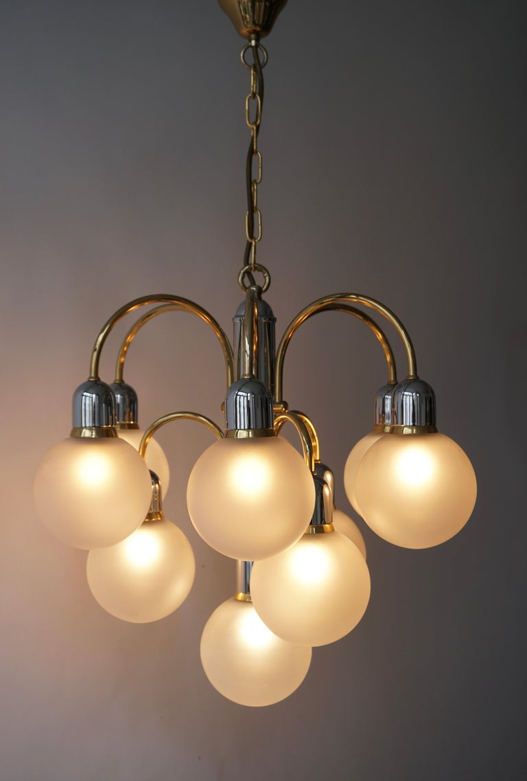 Murano Glass and Brass Chandelier For Sale 11