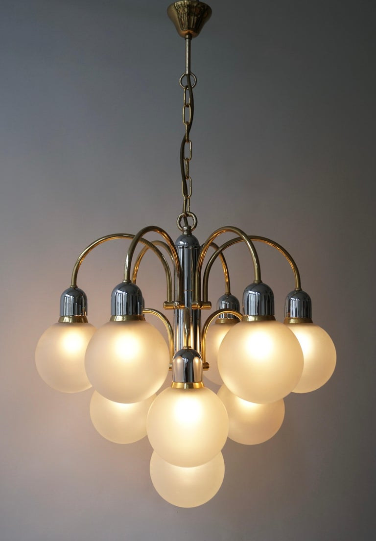 Murano Glass and Brass Chandelier For Sale 12
