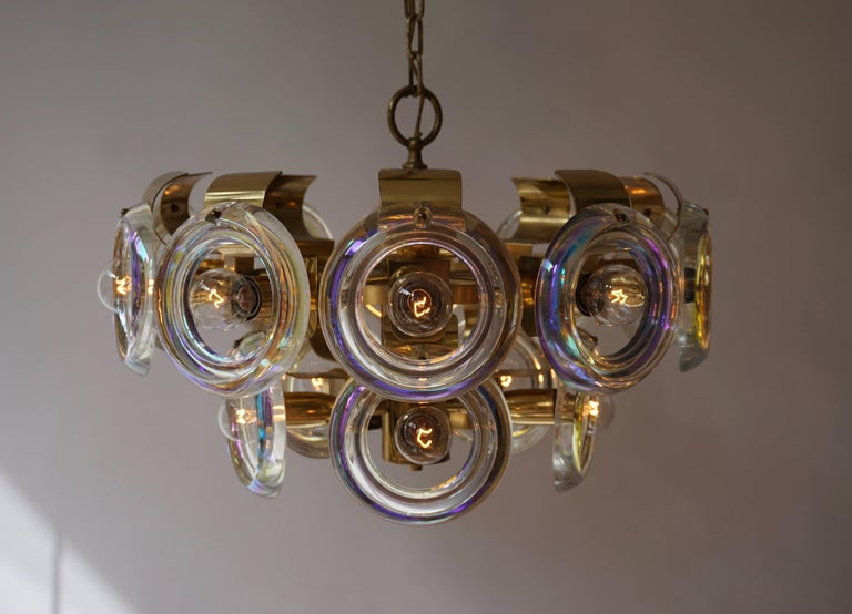 Mid-Century Modern Murano Glass and Brass Chandelier For Sale