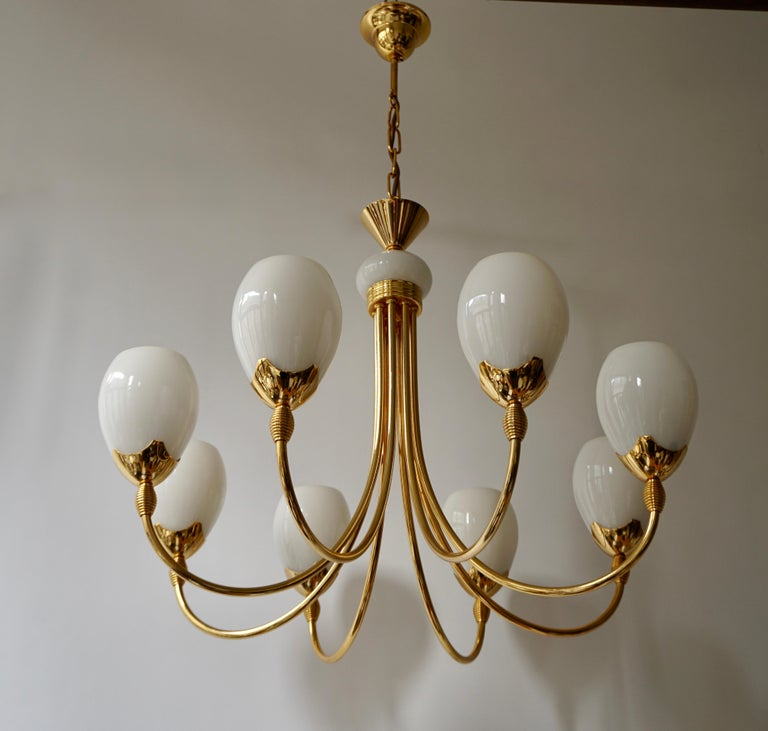 Hollywood Regency Murano Glass and Brass Chandelier For Sale