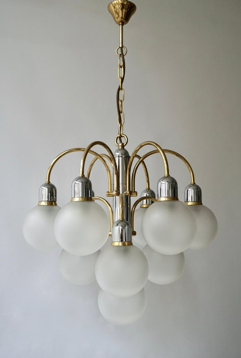Italian Murano Glass and Brass Chandelier For Sale