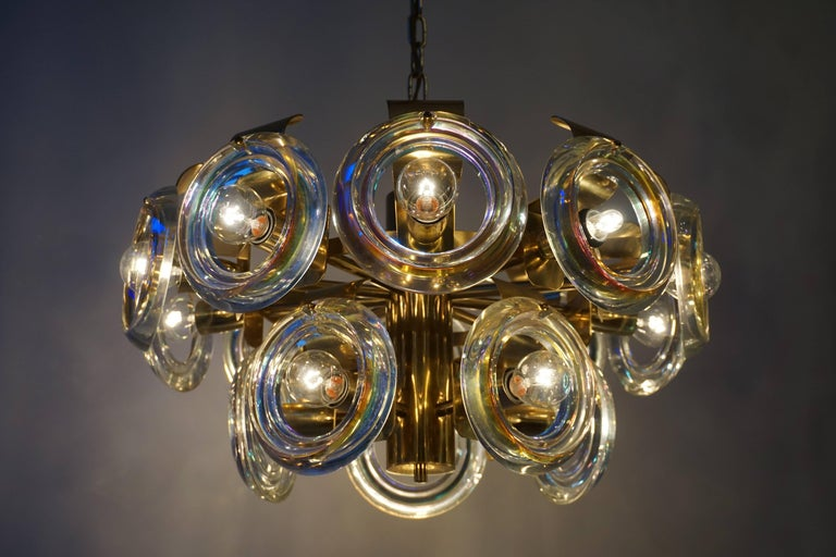 Murano Glass and Brass Chandelier In Good Condition For Sale In Antwerp, BE