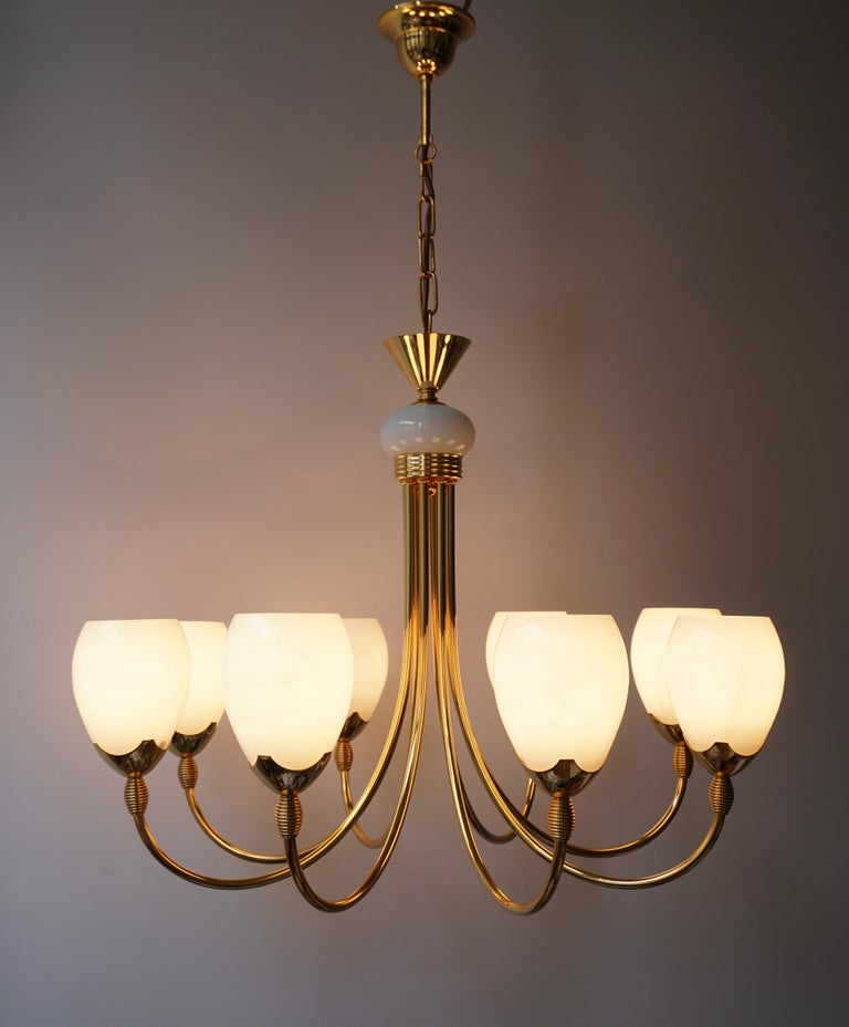 Murano Glass and Brass Chandelier For Sale 1