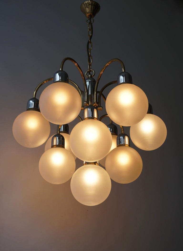 Murano Glass and Brass Chandelier For Sale 2
