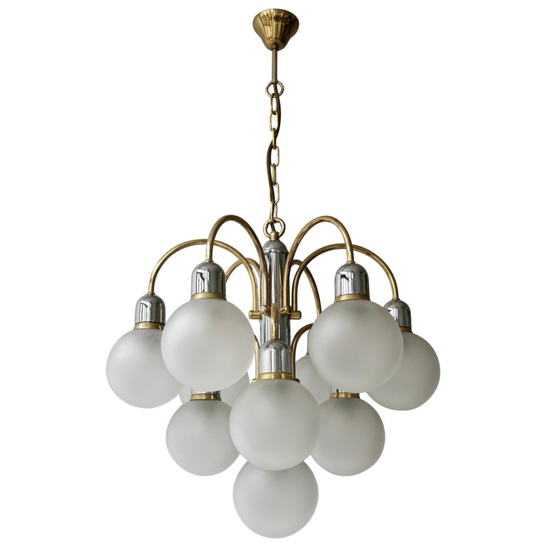 Murano Glass and Brass Chandelier For Sale