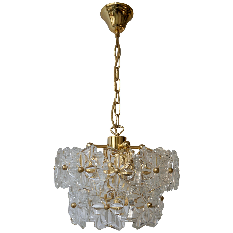Murano Glass and Brass Chandelier