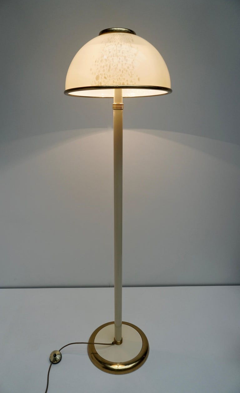 Hollywood Regency Murano Glass and Brass Floor Lamp For Sale