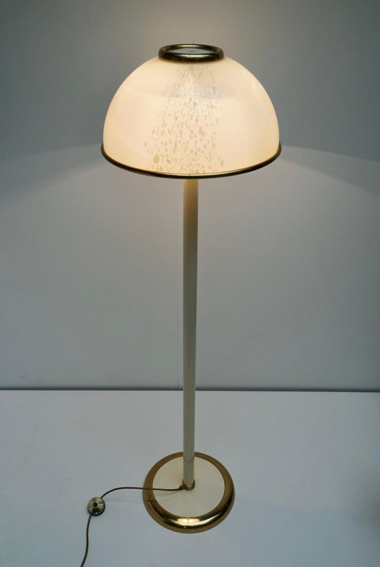 Italian Murano Glass and Brass Floor Lamp For Sale