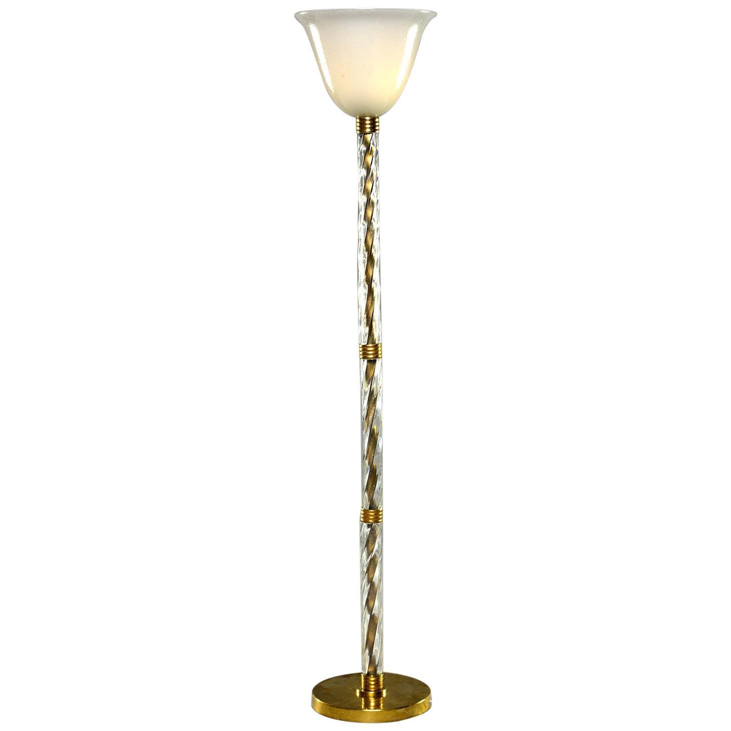 Murano Glass and Brass Floor Lamp