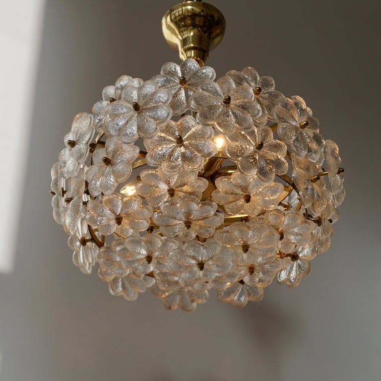 Murano Glass and Brass Flower Chandelier For Sale 8