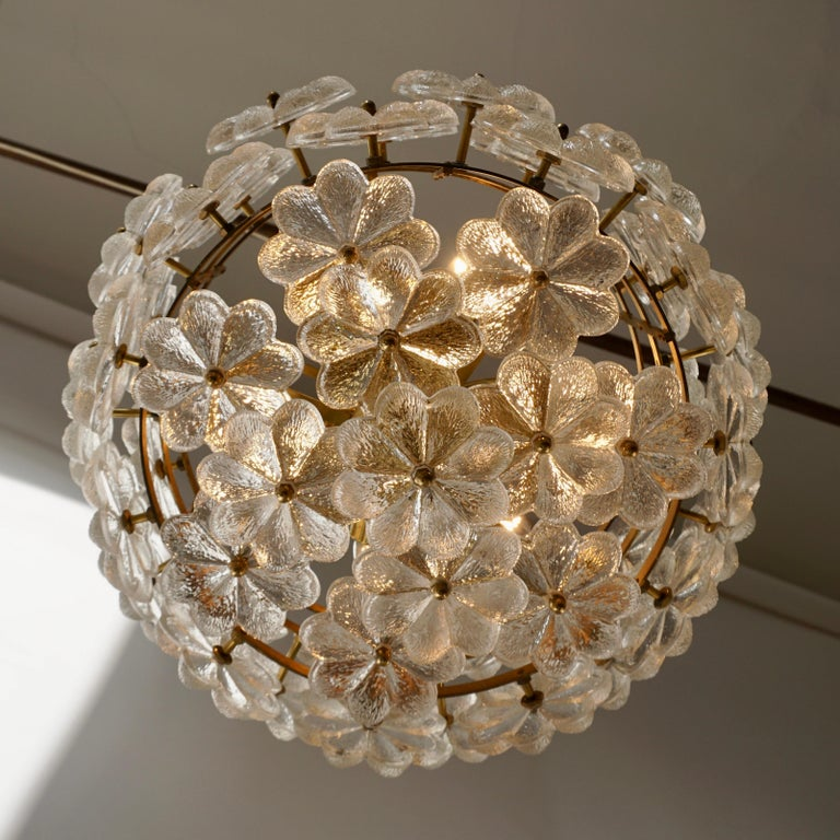 Murano Glass and Brass Flower Chandelier For Sale 9