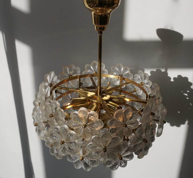 Murano Glass and Brass Flower Chandelier For Sale 3