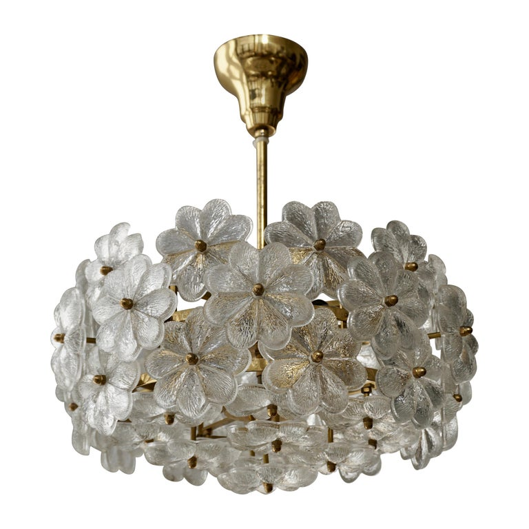 Murano Glass and Brass Flower Chandelier For Sale