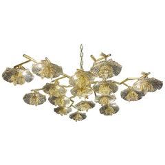 Murano Glass and Brass Flower Form Flush Mount Chandelier