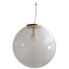 Murano Glass and Brass Globe Pendant Lamp