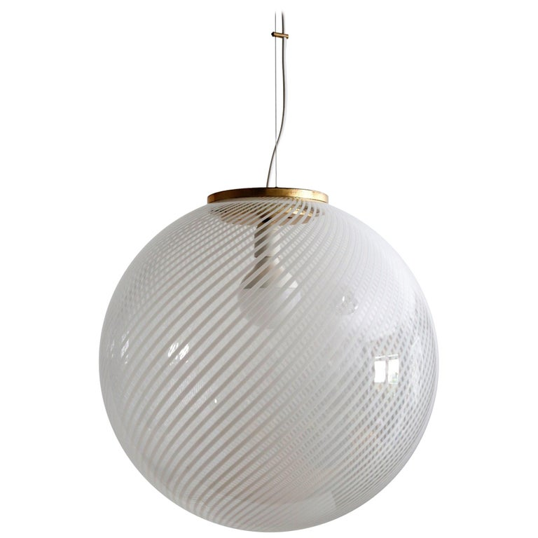 Murano Glass and Brass Globe Pendant Lamp For Sale