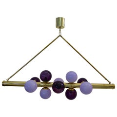 Murano Glass and Brass Midcentury Italian Chandelier, 1960