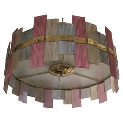 Murano Glass and Brass More Color Midcentury Italian Chandeliers, 1970